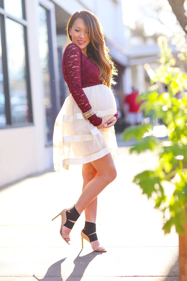cute maternity clothes, lace crop top, sheer skirt, petite fashion, style blog, delman heels, style by alina, maternity