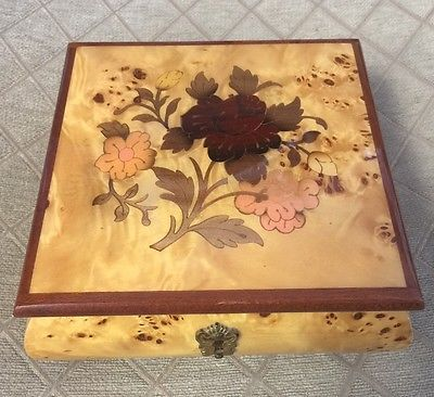 VTG Marquetry Italy Reuge Inlaid Wood Jewelry Music Box It's A Small World