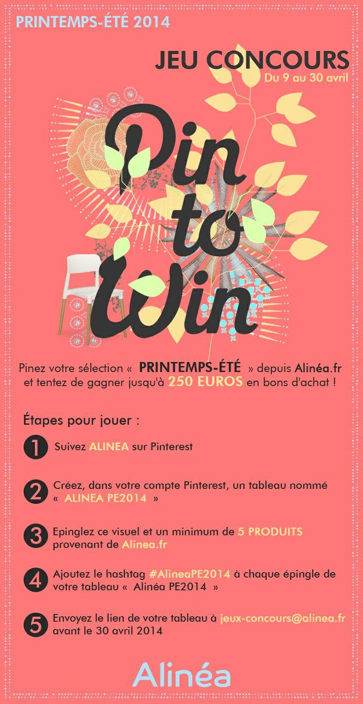 Du 9 au 30 Avril, pinez vos 5 produits préférés de la nouvelle collection Alinéa Printemps-Été 2014 (http://www.alinea.fr/promos/la-selection-printemps-ete-2014.html) et tentez de gagner jusqu'à 250€ en bons d'achat ! Règlement : http://www.alinea.fr/reglement-jeu-concours-pintowin/ #AlineaPE2014