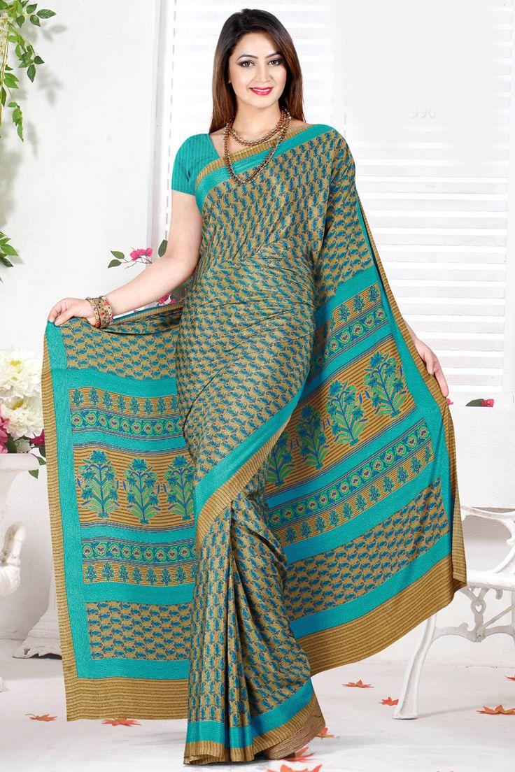 Green Color Designer Printed Saree Online From Hdbazaar.