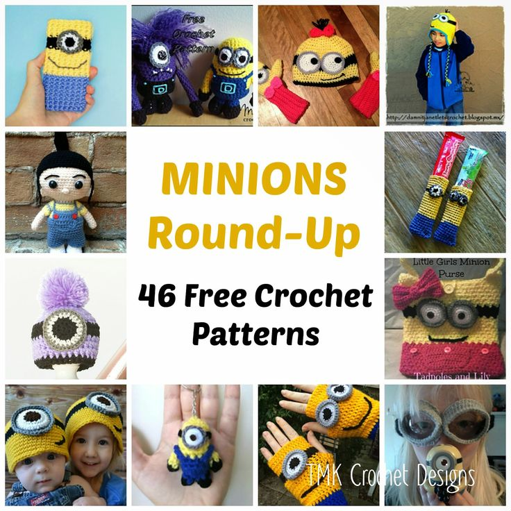 Free Crochet Pattern Round-Up: Minions. Hats, Scarves, Mittens, Phone Case, Bags, Amigurumi, Evil Minion.