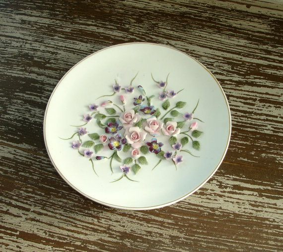 vintage lefton china plate  hand painted rose ivory bisque