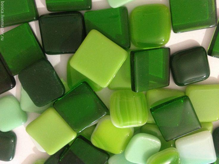 Купить Мозаика для творчества, оттенки зеленого - мозаика, мозайка, мозаика из стекла, Фьюзинг