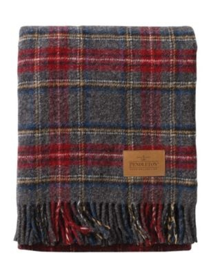"Travel rug, $88 by Pendleton Woolen Mills. Several styles available (this one is ""Charcoal Stewart"")"