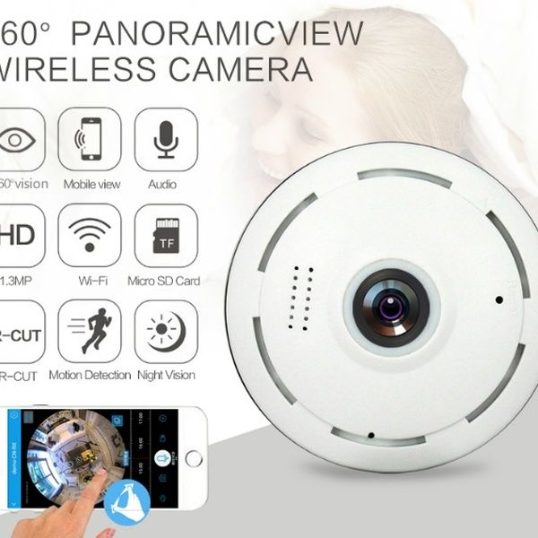 Wireless Wifi Security Camera Super Wide Angle Support IR Night Motion Detection