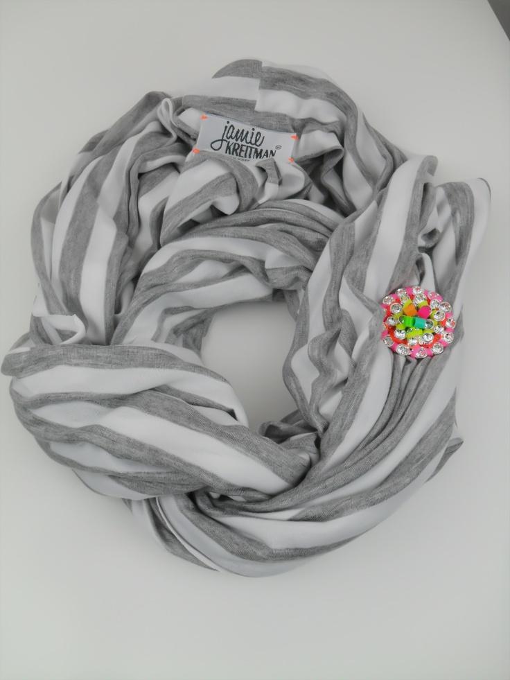 Neon Brooch Grey stripe Infinity scarf http://www.jamiekreitman.com/Jamie-Kreitman-Accessories-Collection-s/1838.htm
