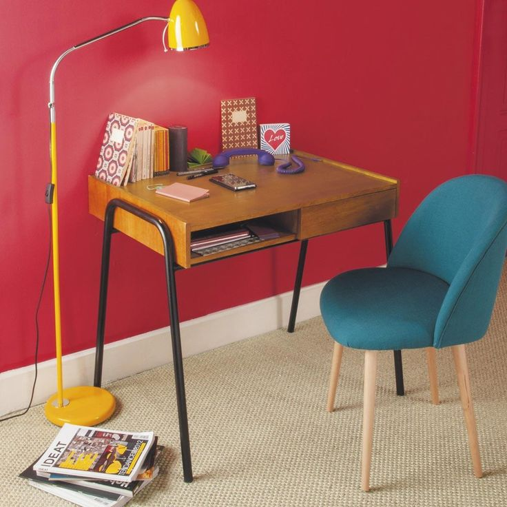 Blauwgroene stoffen en massief berkenhouten vintage stoel Mauricette   Maisons du Monde