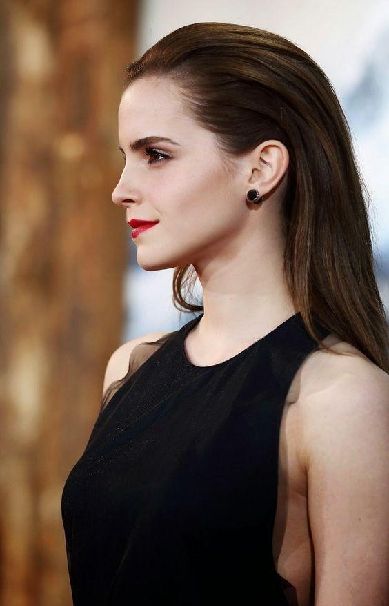 Emma Watson's Sleek 'do & classic red lip.