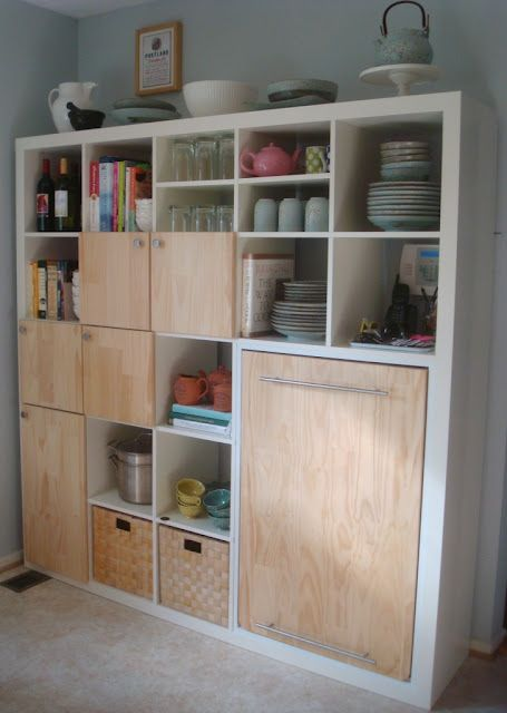 Wow! Click pic to see how Ikea Expedit bookshelf used creatively converts to extra counter area.