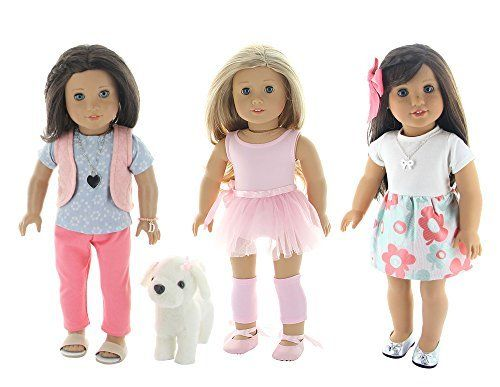 """13 Piece Lot Doll Clothes Set, Fits 18""""/or American Girl Dolls- Includes Ballet Set, Party Outfit, & Dog Walking Set- by PZAS Toys"""