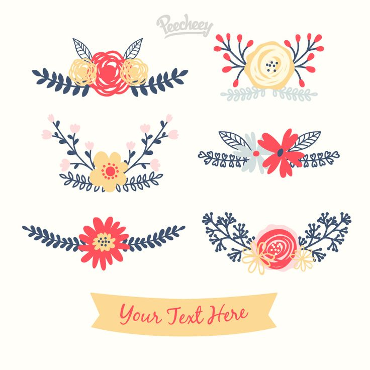 (Free) 6x Floral Elements | The Hungry Jpeg