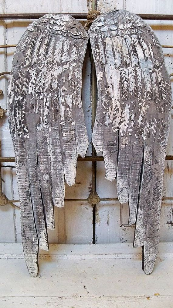 Large wooden angel wings wall sculpture gray by AnitaSperoDesign, $220.00...want these so bad
