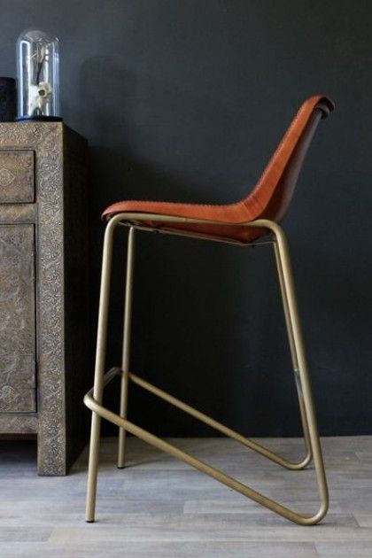 Brown Leather Bar Stool with Brass Effect Legs - View All - Furniture