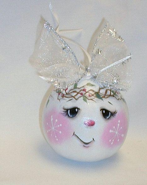 Muñeco de nieve ornamento del árbol de calabaza - calabaza de pintado a mano