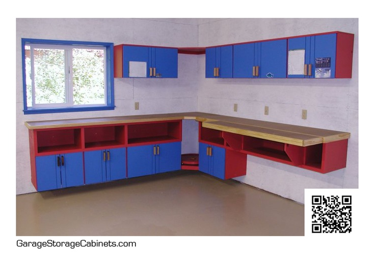 Fun blue and red colored custom storage cabinets. These cabinets are perfect to jazz up a hobby or kids room in your home. Find out more specifics and price on our site.