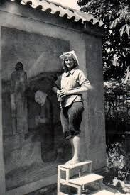 Eva Prokopová - AVU při práci na fresce