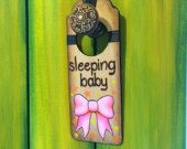 "Wood-burn ""Sleeping Baby"" door hanger sign with pink Bow & orange/yellow Hearts & Stars. Handmade & hand-painted. www.etsy.com/shop/HeidiLynneDecor"