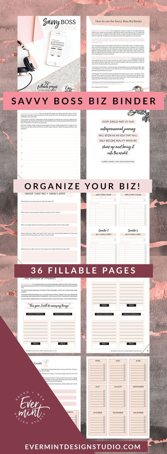 Plan + Organize your business with the Savvy Boss BIz Binder // 36 Pages! - Plan your blog content, your quarterly and yearly goals, your financial goals, expenses, brain dump your ideas - complete with weekly to do's, calendar planning pages, and stats and analytics tracker! Pulled together with inspirational quotes and a whimsical, boho design! This binder can be either printed and written on, or filled out online #planner #printable #ad #bulletjournals #templates #bossbabe