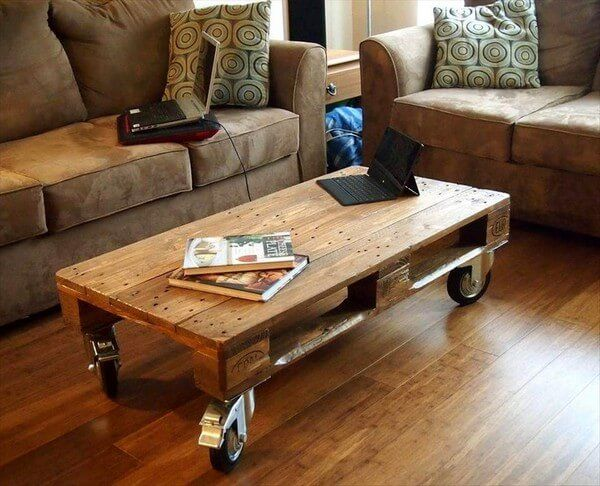 How about this for an awesome and mouth watering product we have for you by simply reshaping the retired wood pallets and converting them in to this beautiful coffee table with wheels that gives you a multipurpose utility.