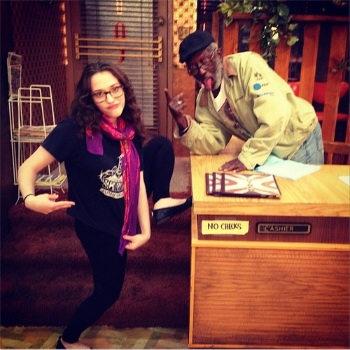 "From Morgan Murphy's Instagram:  ""Kat & Garrett being professional & stuff."" - 2 broke girls"