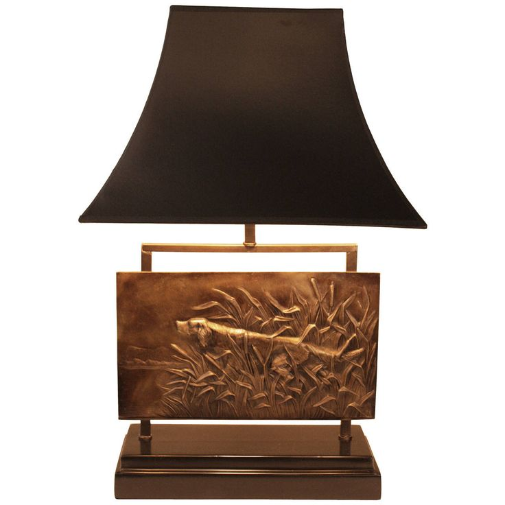 French Bronze Plaque Lamp | From a unique collection of antique and modern table lamps at https://www.1stdibs.com/furniture/lighting/table-lamps/