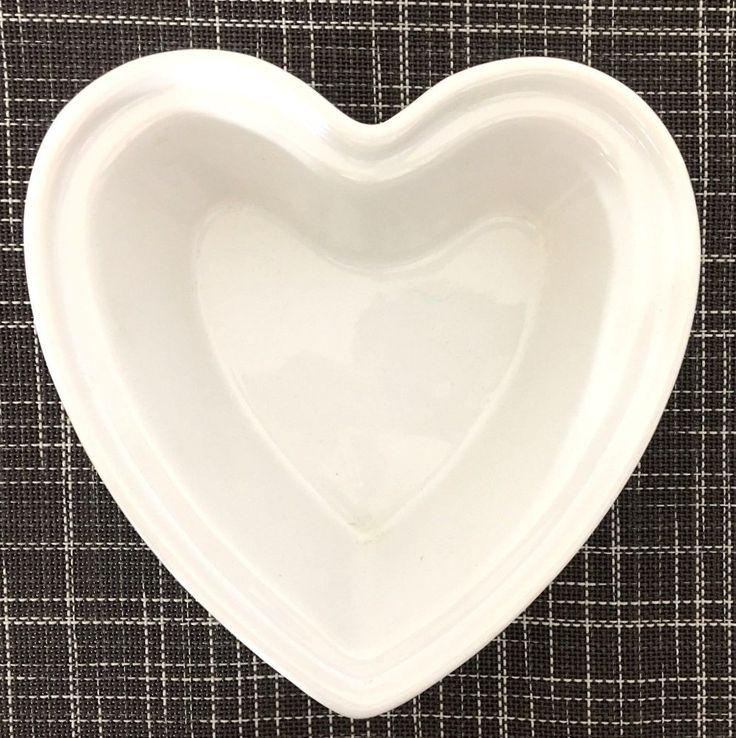 2 CHANTAL Heart Shaped White Ceramic Baking Dishes 1.25 Cup Micro Safe EUC #Chantal