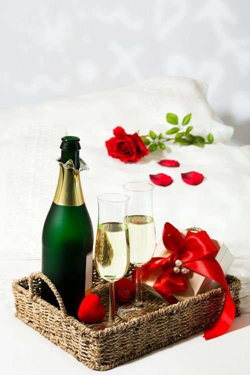 Champagne and roses for two