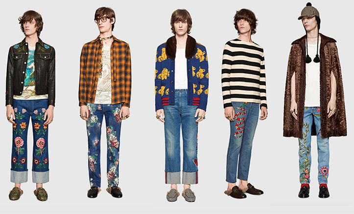 The new Gucci men's jeans are inspired by nature with floral and animal references that capture the romantic spirit of the creations of Alessandro Michele,