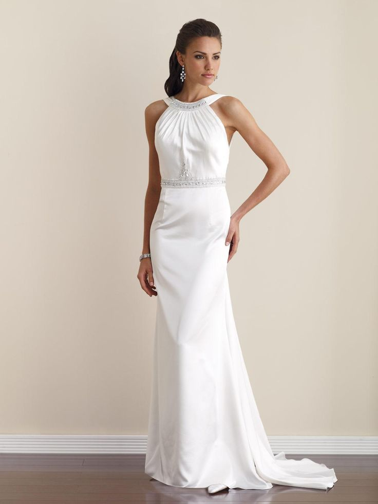 Soft Satin slim A-line dress with hand-beaded modified halter neckline, gently gathered bodice adorned with jeweled beading at natural waistline, open back bodice with bandeau tie detail and detachable fly-away streamer, sweep train.  $178.99