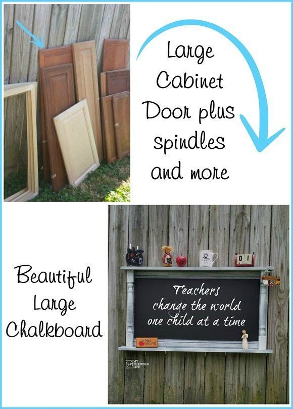 How to make a chalkboard shelf out of an old cabinet door, vintage spindles and scrap wood. Easy weekend project shows you how to use white glue as a crackle medium. #diy #chalkboard #spindle MyRepurposedLife.com