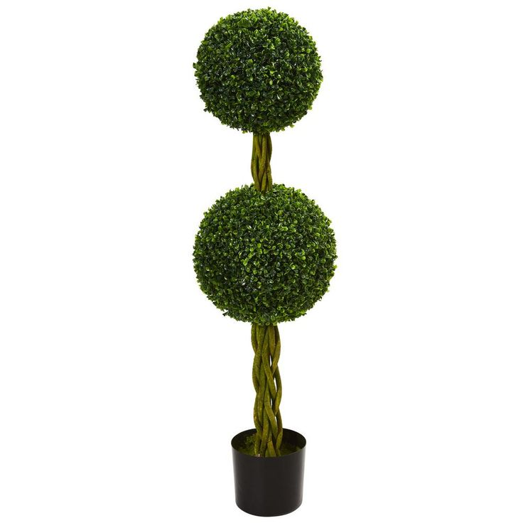 4 ft. UV Resistant Indoor/Outdoor Boxwood Double Ball Artificial Topiary Tree with Woven Trunk, Green