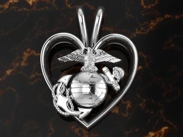 128 best marine corps jewelrygifts images on pinterest marine 34 sterling silver heart with silver eagle globe and anchor aloadofball Images