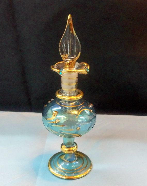 Vintage Egyptian Perfume Bottle Etched In Gold And