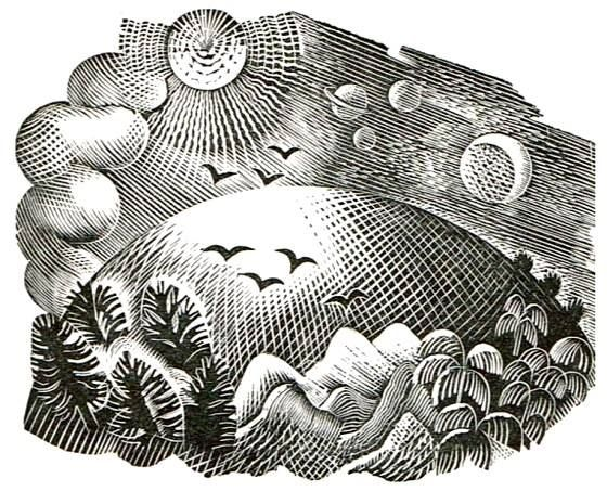 """Wood engraving by Eric Ravilious from """"Fifty Four Conceits"""" by Martin Armstrong, 1933"""
