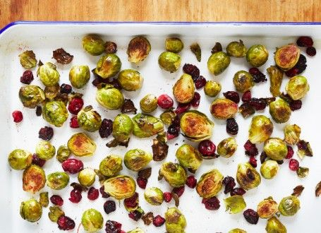 Coconut Roasted Sprouts with Cranberries