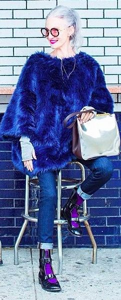 Linda Rodin loks fabulous in blue. Choose your stylish clothes from…