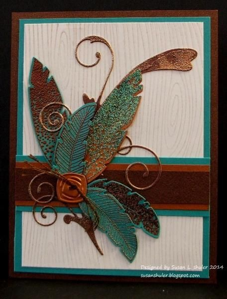 Verdigris, Copper, Feathers and Flourish by Auntie Susan - Cards and Paper Crafts at Splitcoaststampers