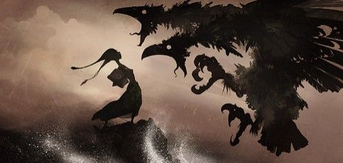art, color, concept, dark, dragao tenebroso, dragon, drawing, girl, graphic, illustration, ink, inspiration, monster, monsters, silhouette, spirits, story, witch