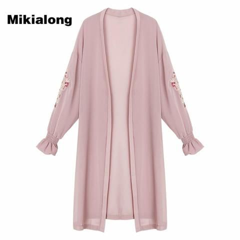 8f4d39b46a393 Mikialong Summer Kimono Cardigan Women 2018 Floral Embroidery ...