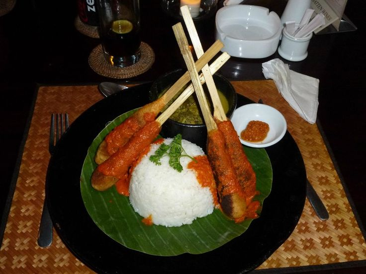 Sate Pusut with Cassava Leaves Cooked in Coconut Milk