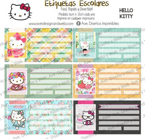 Hello Kitty Etiquetas para Cuadernos Hello por AVeDisenoImprimible