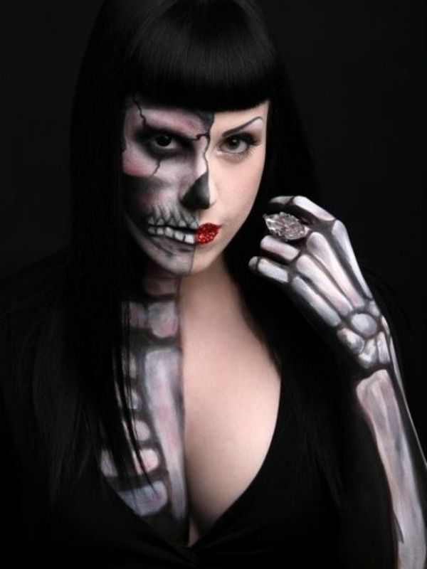 face paint and makeup pink half skull body makeup this skull makeup goes even more anatomical though still stylized i - Halloween Skull Painted Face