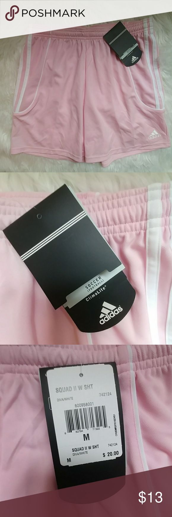 Adidas Soccer Shorts NWT Adidas soccer shorts in light pink.  Size Medium. Climate controlled fabric. Drawstring closure.  Brand new with tags!!  2004 classic style!  Garment shown on a medium sized model. Adidas Shorts