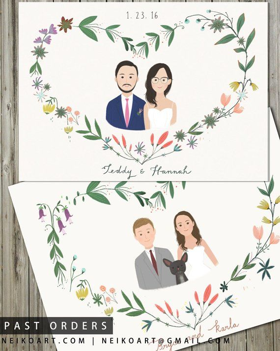 Printable Custom Portrait Wedding Invitation - Illustrated Floral ...