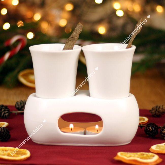 Zestaw do grzanego wina: podwójny podgrzewacz z dwoma kubeczkami + pudełko prezentowe