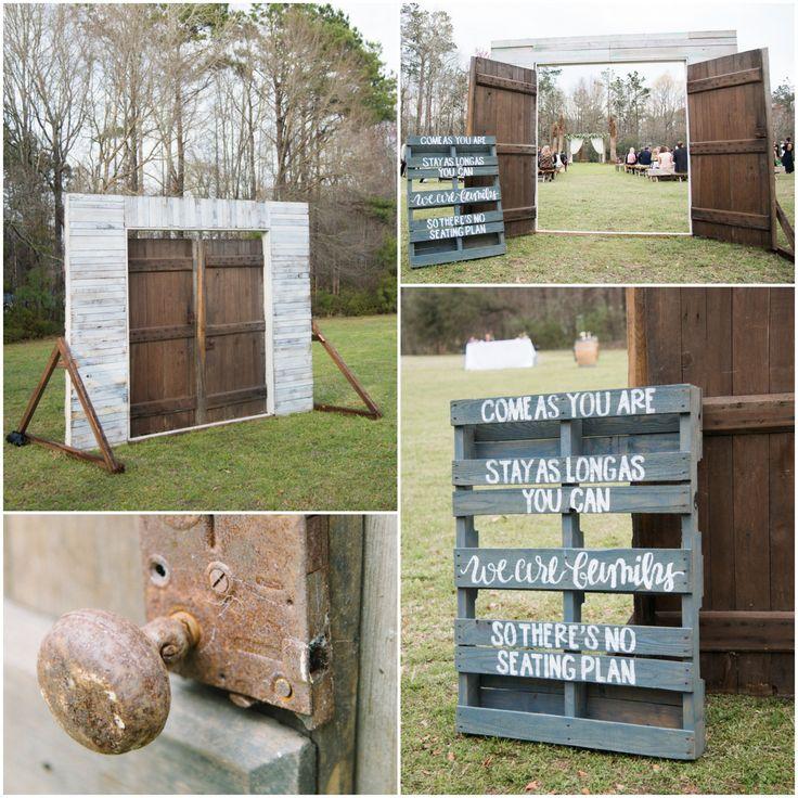 Vintage Wooden Doors Fram Outdoor Wedding Ceremony