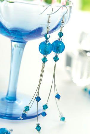 Blue Bead & Crystal Earrings