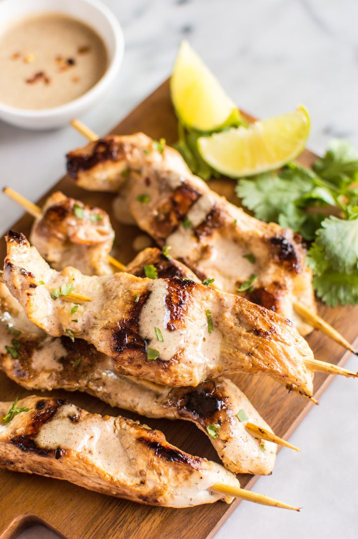 Lemongrass Chicken Satay with Almond Butter Dipping Sauce - Easy prep and packed with flavor!