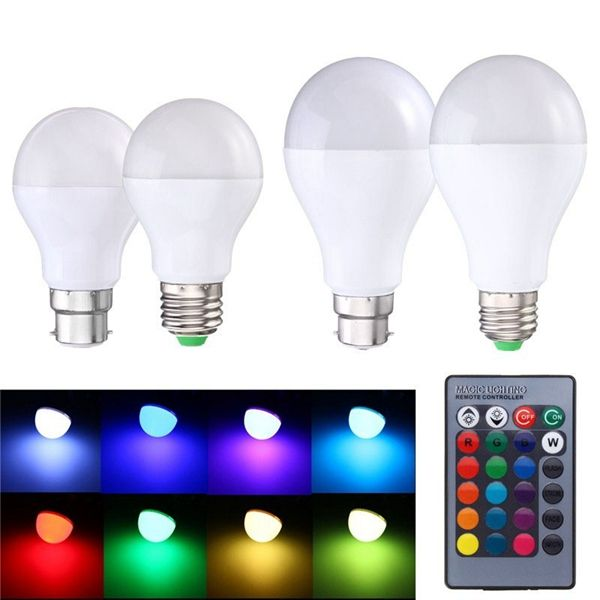 9w E27 B22 Rgb Memory Function 16 Colors Changing Led Light Lamp Bulb Remote Control Ac85 265v Bulb Lamp Bulb Color Changing Led