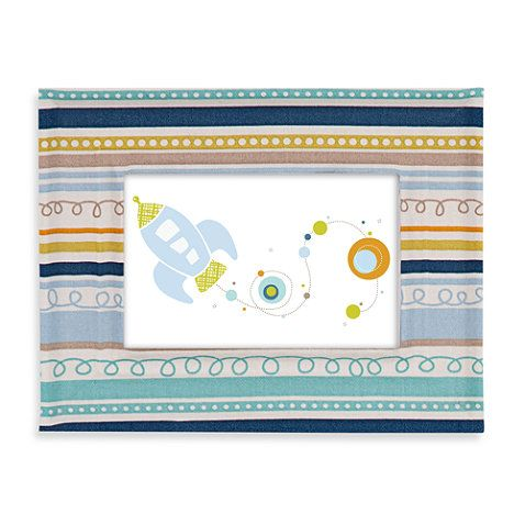 Lolli Living™ by Living Textiles Baby Bot Fabric Covered Picture Frame in Galaxy Stripe - buybuyBaby.com